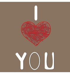 I love you Heart for Valentines Day Design vector image vector image
