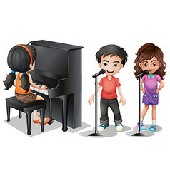 Kids singing and playing piano vector image vector image