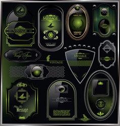 set of vintage framed black and green labels vector image
