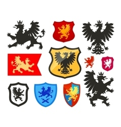Shield with griffin gryphon eagle logo vector
