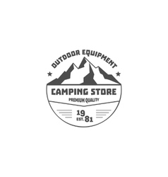 Vintage mountain camping store badge outdoor logo vector image vector image