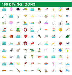 100 diving icons set cartoon style vector image