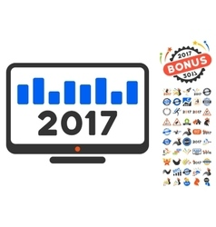 2017 Chart Monitoring Icon With 2017 Year Bonus vector