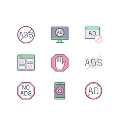 ads block line icons vector image