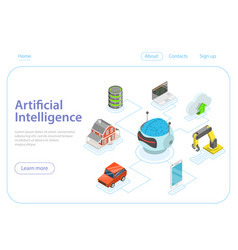 Artificial intelligence flat isometric vector