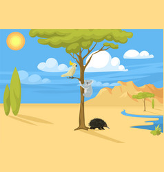Australia wild background landscape animals vector