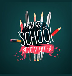 Back to school special offer banner with doodle vector