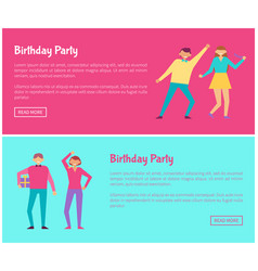 Birthday party web online posters man and woman vector