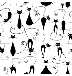 Black cats seamless pattern for your design vector