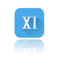 Blue icon with xi roman numeral with reflection vector