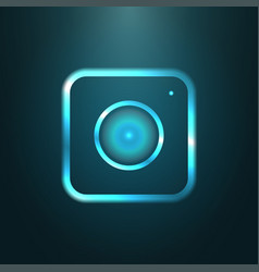blue metallic web icon of modern camera vector image