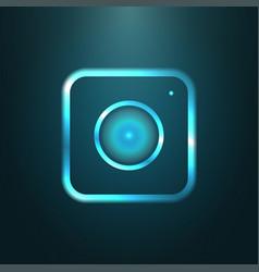 Blue metallic web icon of modern camera vector