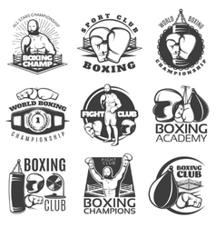 Boxing black white emblems vector