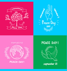 Bright posters for international peace day text vector