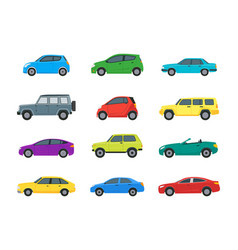 cartoon cars color icons set vector image