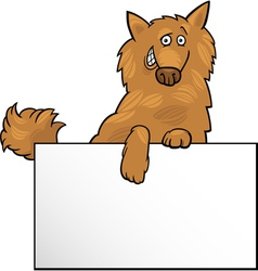 Cartoon dog with board or card design vector