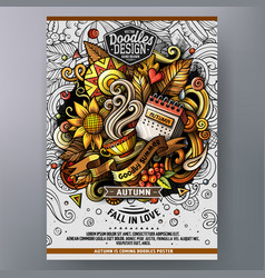 cartoon doodle autumn poster template vector image