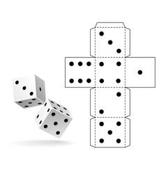 casino dice paper cut out cube geometry vector image