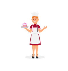 chef of hotel restaurant smiling woman holding vector image