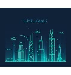 Chicago City skyline Trendy line art vector