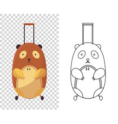 childish cute bag in form a bear for trips vector image