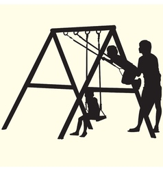 Children on Swings silhouettes vector image vector image