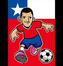 Chile soccer player with flag background vector
