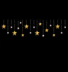 Christmas background with gold and silver stars vector