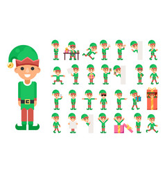 christmas elf girl santa claus helper in different vector image