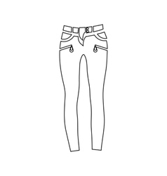Classic women jeans icon outline style vector image