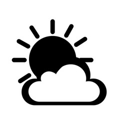 Cloud with sun climate isolated icon vector
