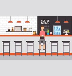 coffee house or bar interior counter and stool vector image