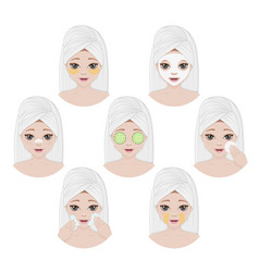 collection womens faces with different ways vector image