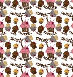 Colored seamless pattern chocolate cupcake vector
