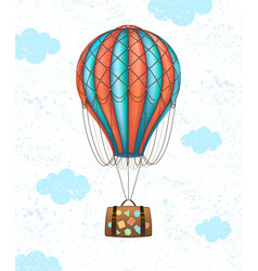 Conceptual art of hot air balloon with baggage vector