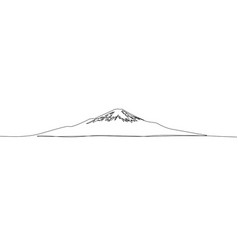 continuous one line drawing fuji japan vector image