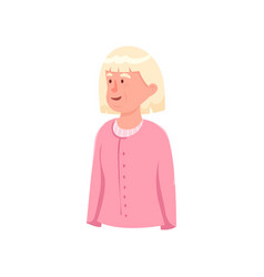Cute old woman avatar with white hair pink clothes vector