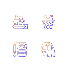 Daily student routine gradient linear icons set vector