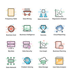 data analytics icons set vector image