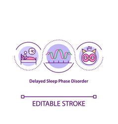 Delayed sleep phase disorder concept icon vector