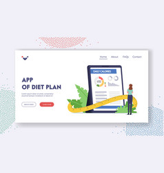 Diet plan app landing page template tiny female vector