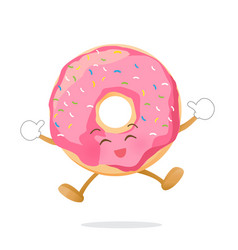 donut cartoon jumping with happiness isolated on vector image