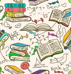 Doodle seamless pattern books and children vector