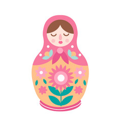 Drawing colorful cute nesting doll ornamental vector