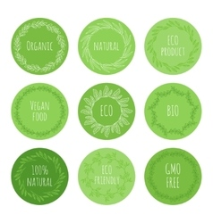 Eco green stickers with hand drawn floral elements vector