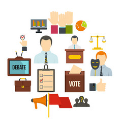 election voting icons set in flat style vector image