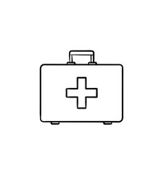 first aid kit hand drawn outline doodle icon vector image