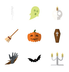 Flat icon celebrate set of zombie broom vector