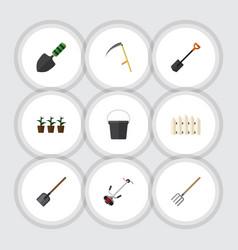 Flat icon farm set of flowerpot pail shovel and vector