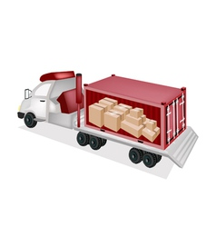 Flatbed Trailer Loading Paper Boxes in Container vector